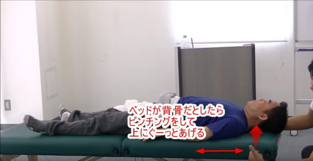 ベッドが背骨だとしたらピンチングをして上にぐーっとあげる